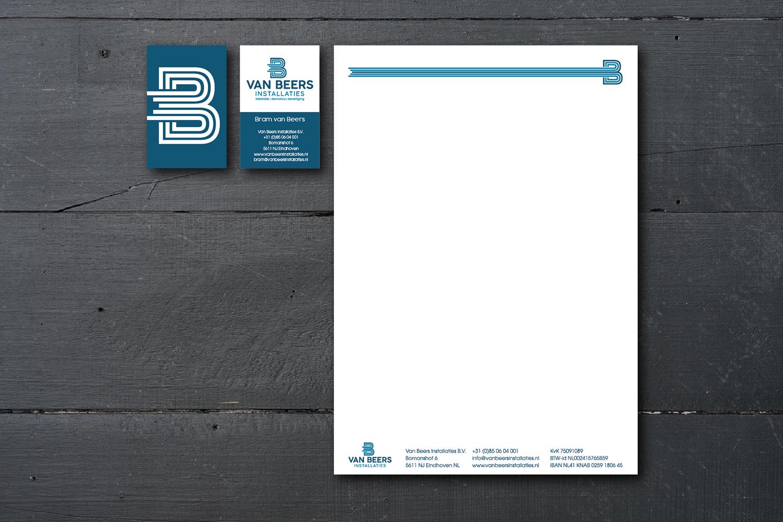 visitekaartje briefpapier van Beers installaties